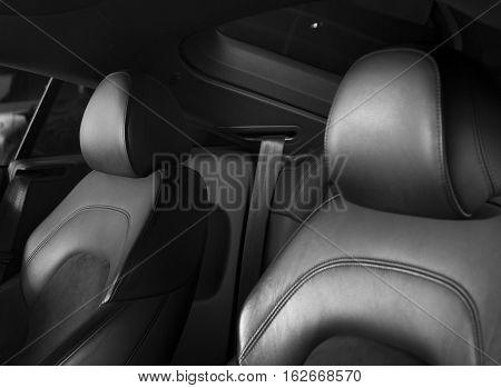 Sport car, black leather car seats interior