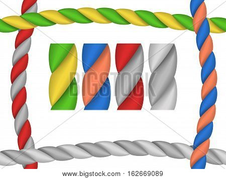 Brushes in the form of ropes for frame - a vector
