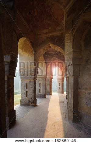 Muhammad Shah Sayyid's Tomb view from colonnade inside Lodi Garden Monuments Delhi India
