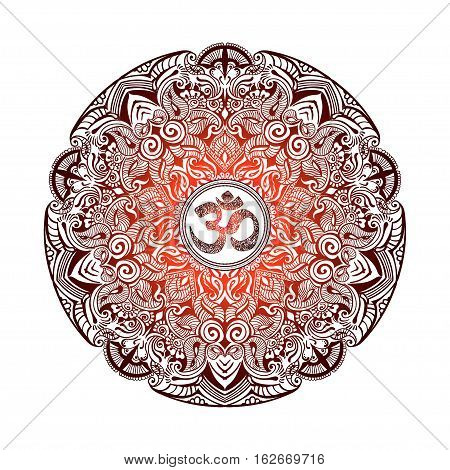 Isolated image of a mandala and OM on a white background. Hand drawn Ornate Indian pattern decorative vector elements.