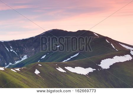 beautiful summer Carpathians landscape, Sunrise mountains,  Europe tourism, beauty  world