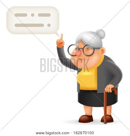 Wise Teacher Guidance Granny Old Lady Character Cartoon Vector illustration