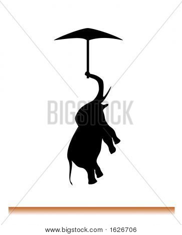 silhouette of flying elephant on umbrella. Motto: If elephant can fly you can do everything. poster