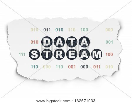 Data concept: Painted black text Data Stream on Torn Paper background with  Binary Code