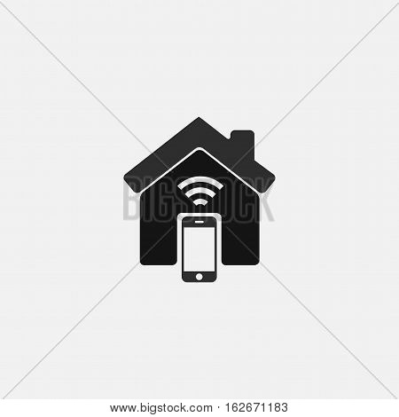 smart home vector icon isolated on white background. smart house sign. home icon with wifi and smartphone.