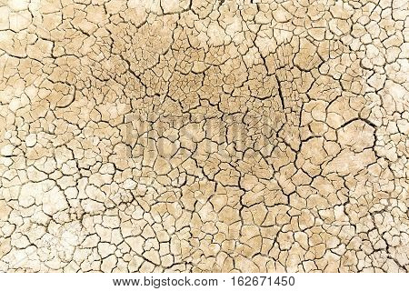 Dried And Cracked Sandy Soil From A Drained Desert Lakebed