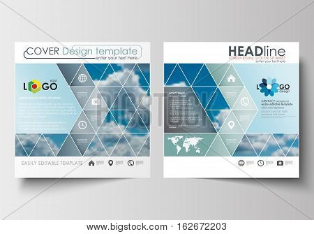 Business templates for square design brochure, magazine, flyer, booklet or annual report. Leaflet cover, abstract blue flat layout, easy editable blank, vector illustration.