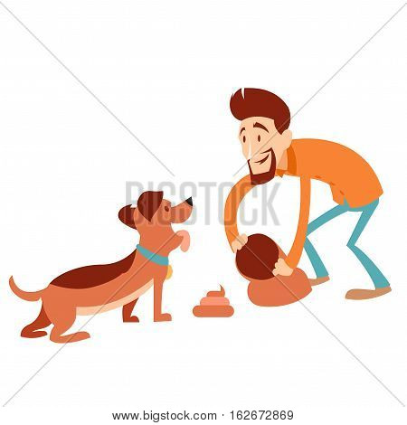 Vector image of the Man cleaning its dogs poop
