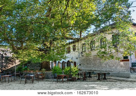 Main square in Monodendri one of the stone villages of Zagoria. Epirus Greece