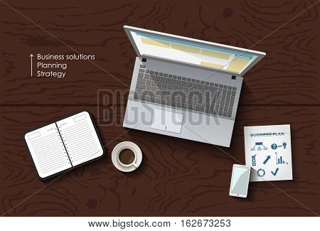 Vector flat lay workspace, table with laptop and smartphone, business concept