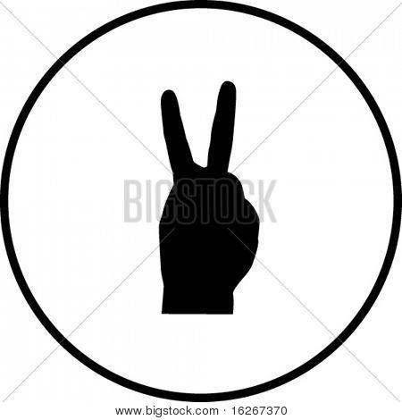 hand number two symbol or making bunny ears shadow