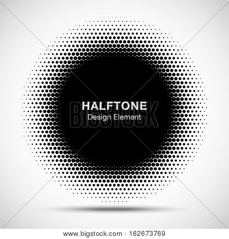 Black Abstract Circle Frame Halftone Dots Logo Design Element for medical treatment, cosmetic. Circle Border Icon halftone dot vector elements. Halftone circle emblem, vector illustration.
