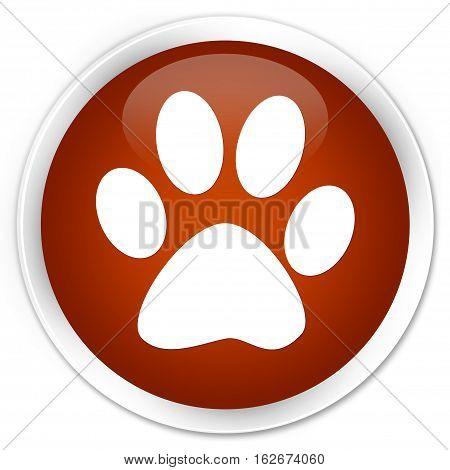 Animal Footprint Icon Premium Brown Round Button