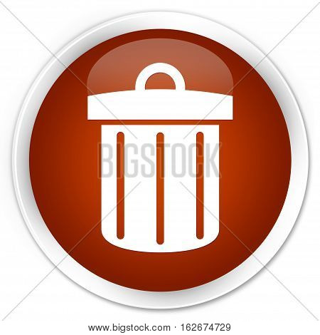 Recycle Bin Icon Premium Brown Round Button