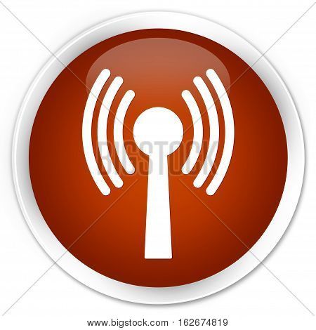 Wlan Network Icon Premium Brown Round Button