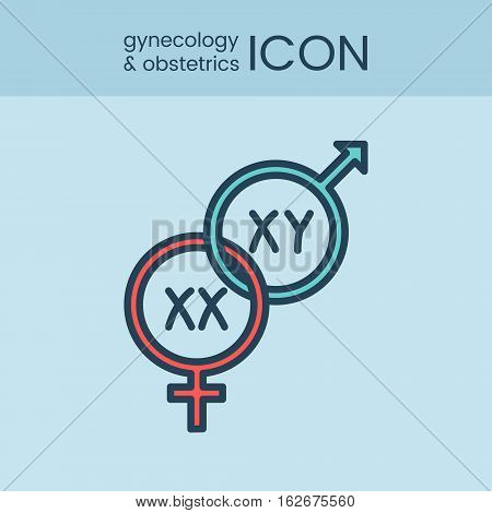 Flat style and linear design icons of gynecology and obstetrics concept. Logotype, sign and icon for print design, web, landing page and infographics.