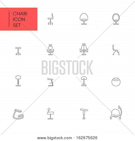 Flat style and linear design icons of alternative type of chair. Healthy chair concept. Logotype, sign and icon for print design, web, landing page and infographic.