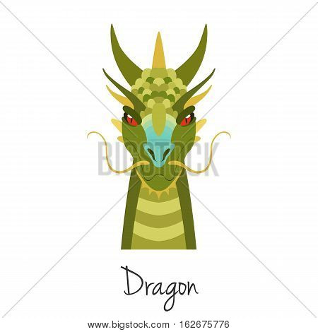 Vector Green dragon face isolated. Animal of Chinese zodiac symbol. flat cartoon dragon head, Chinese new year symbol, poster, banner, print, advertisement, web design element.