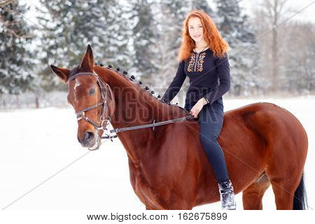 Young teenage girl riding bay horse in winter park. Winter horseback riding background