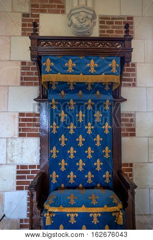 CASTLE OF AMBOISE, AMBOISE, FRANCE - CIRCA JUNE 2014: The throne in interior of the Amboise Castle in circa June, 2014. Amboise is chateau in the town of Amboise in the Loire valley, UNESCO World Heritage Site.