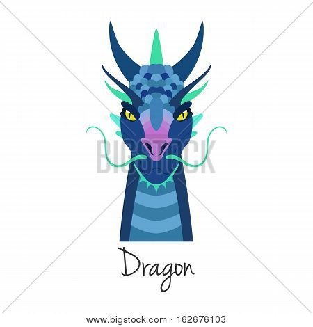 Vector blue dragon face isolated. Animal of Chinese zodiac symbol. flat cartoon dragon head, Chinese new year symbol, poster, banner, print, advertisement, web design element.