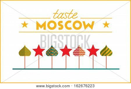 Flat design colorful illustration of Moscow topic. Concept of turism in Russia and Moscow style. Best for banner, web, print design and advertising.