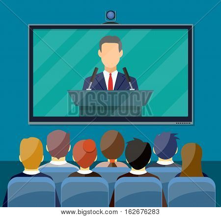 Video conference concept. Room with chairs and crowd, big digital screen. Online meeting, video call, webinar or training. Vector illustration in flat style