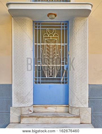 Athens Greece elegant house metal and glass door