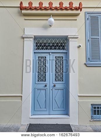 Athens Greece elegant house light blue door