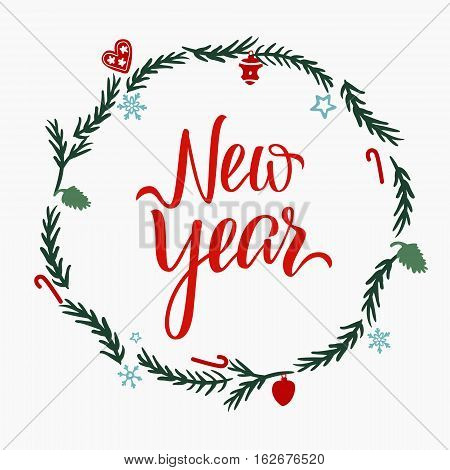 Hand draw lettering template of christmas concept. Brush pen invitation or postcards. Seasons and holydays greting card of New Year and xmas holidays.
