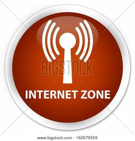Internet Zone (wlan Network) Premium Brown Round Button