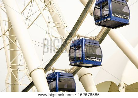 Chicago IL USA october 28 2016: Gondolas move passengers of the newly opened Dutch Ferris Wheel in near east side by Navy Pier
