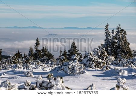 Winter On Mountains - Low Clouds And Distant Views