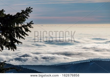 Above The Clouds On Mountain Ridge