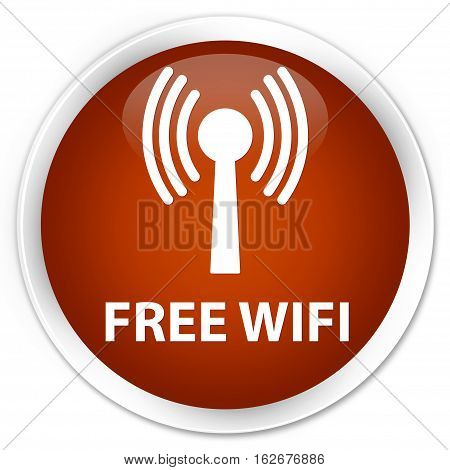 Free Wifi (wlan Network) Premium Brown Round Button