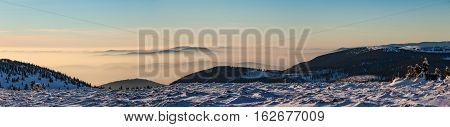 Panorama Of Amazing Sunset Mountain Landscape In Winter