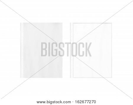 Empty document protector and blank white A4 paper sheet mockup in transparent plastic sleeve 3d rendering