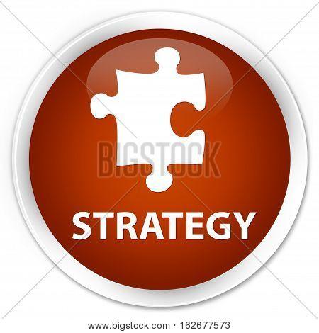 Strategy (puzzle Icon) Premium Brown Round Button