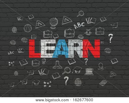 Learning concept: Painted multicolor text Learn on Black Brick wall background with  Hand Drawn Education Icons