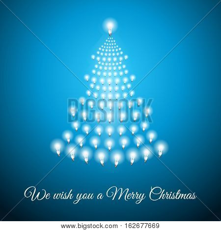 Shining Christmas tree made of bulbs on blue luminous background.Luminous bulbs in shape of xmas firtree.Merry Christmas wish postcard, saving energy concept.