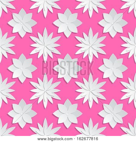 Paper cut flowers background. Origami vector floral pattern. Flower origami on pink backdrop, design of paper origami illustration