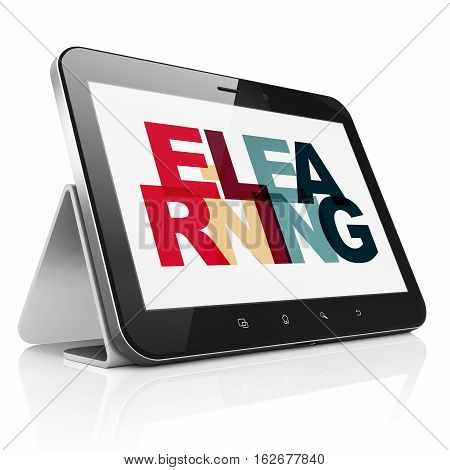 Learning concept: Tablet Computer with Painted multicolor text E-learning on display, 3D rendering