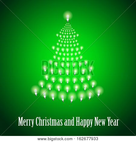 Shining New Year tree made of bulbs on green luminous background.Luminous bulbs in shape of xmas firtree.Happy NewYear wish and Merry Christmas wish postcard, saving energy concept.