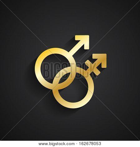 Transgender gold symbol with shadow on black background