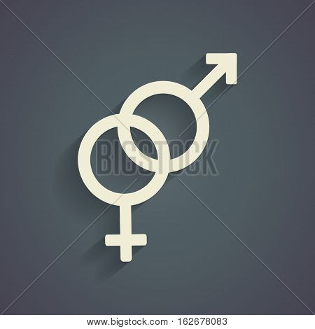 Heterosexual symbol with shadow on gray background