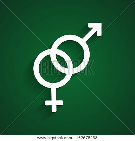 Heterosexual white symbol on the green background
