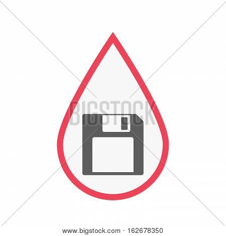 Isolated Blood Drop With A Floppy Disk