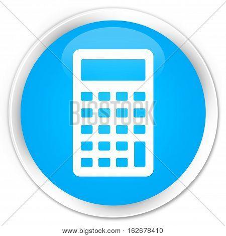 Calculator Icon Premium Cyan Blue Round Button