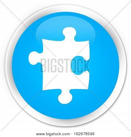 Puzzle Icon Premium Cyan Blue Round Button