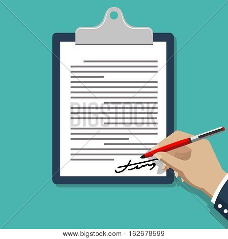 Hand signing document. Man writing on paper contract documents vector illustration. Write signature agreement, business deal signing
